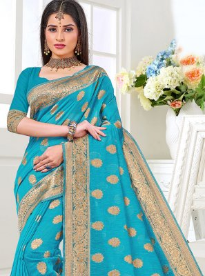 Turquoise Cotton Silk Designer Traditional Saree