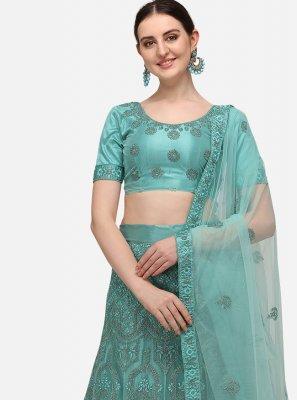 Turquoise Embroidered A Line Lehenga Choli