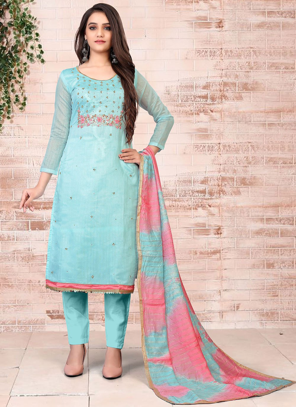 Turquoise Embroidered Chanderi Pant Style Suit