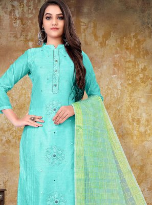Turquoise Embroidered Festival Designer Straight Suit