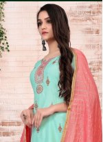 Turquoise Embroidered Festival Pant Style Suit