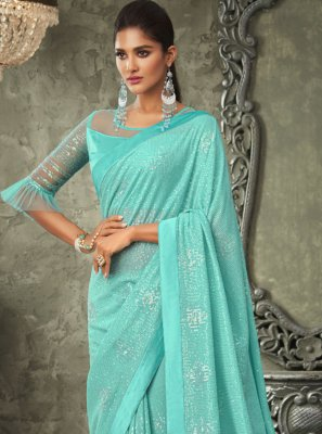 Turquoise Embroidered Georgette Contemporary Saree