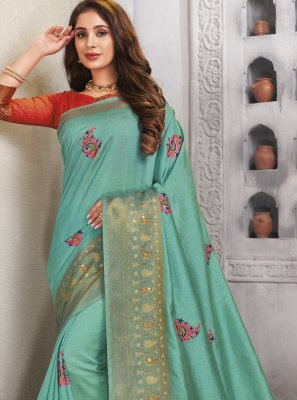 Turquoise Engagement Traditional Saree