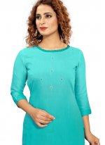 Turquoise Fancy Fabric Party Wear Kurti