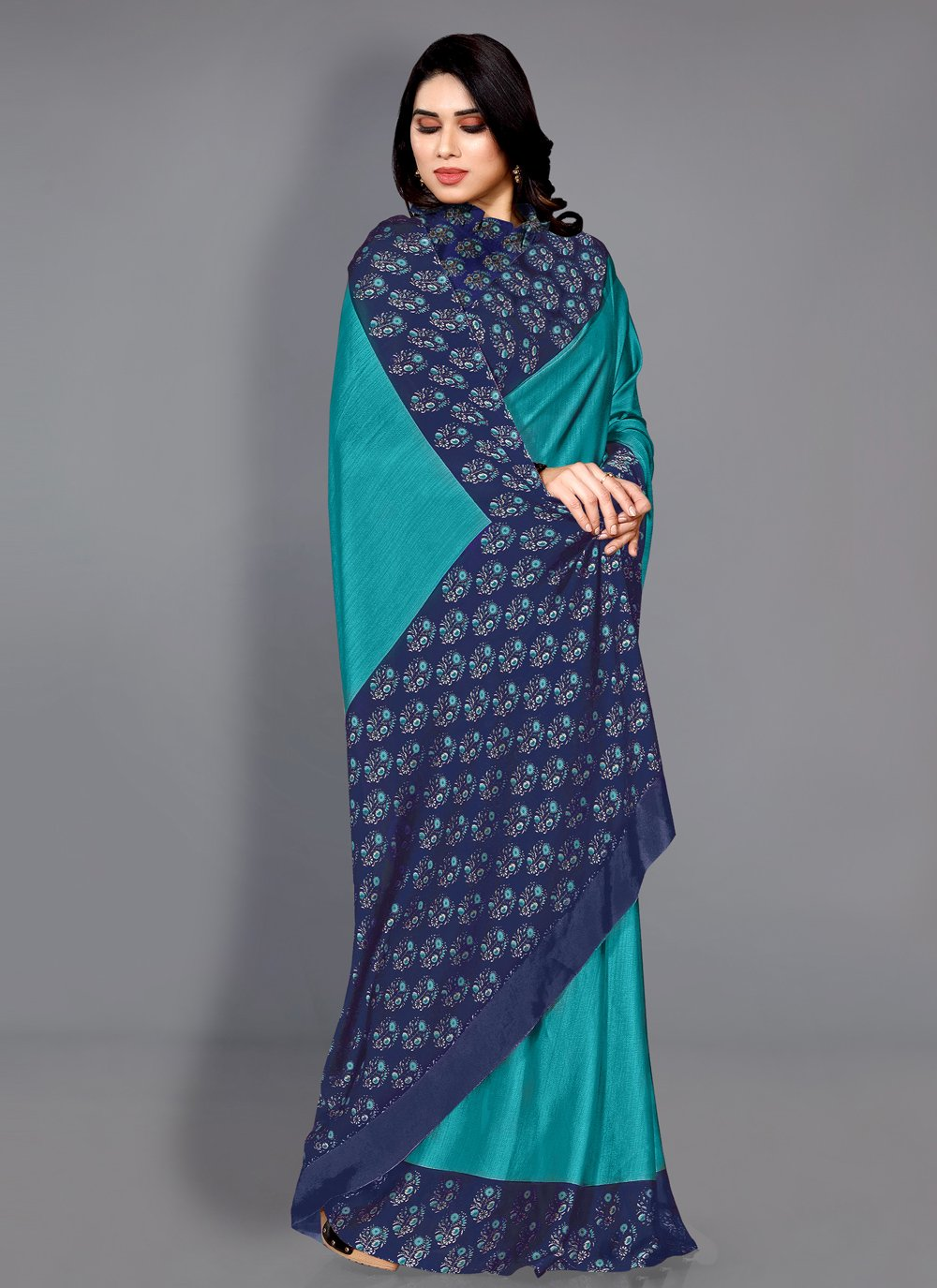 Turquoise Faux Chiffon Casual Traditional Saree