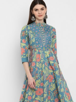 Turquoise Festival Party Wear Kurti