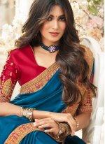 Turquoise Festival Silk Traditional Saree