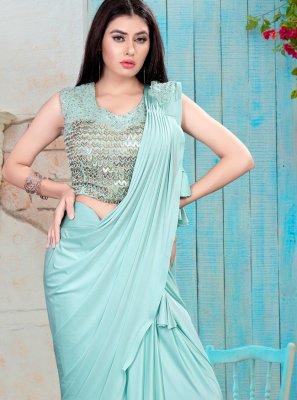 Turquoise Handwork Designer Saree