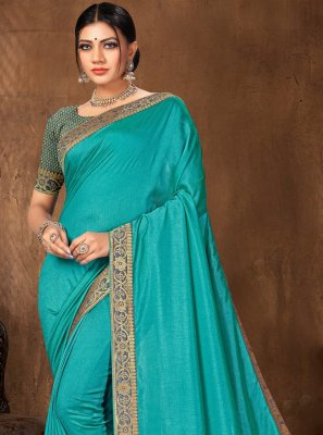 Turquoise Lace Festival Traditional Designer Saree