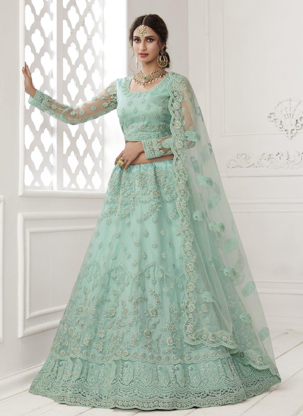 Turquoise Net Lehenga Choli