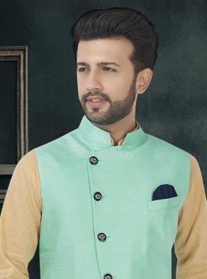 Turquoise Plain Nehru Jackets