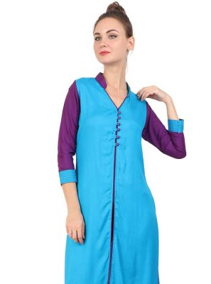 Turquoise Rayon Festival Party Wear Kurti
