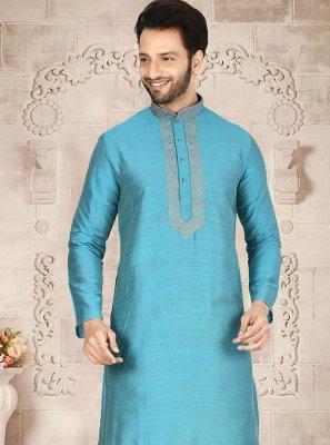 Turquoise Reception Cotton Silk Kurta Pyjama