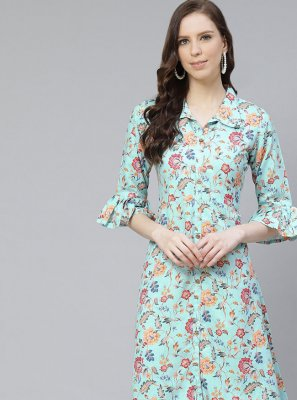 Turquoise Reception Poly Silk Party Wear Kurti