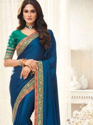 Turquoise Silk Border Trendy Saree