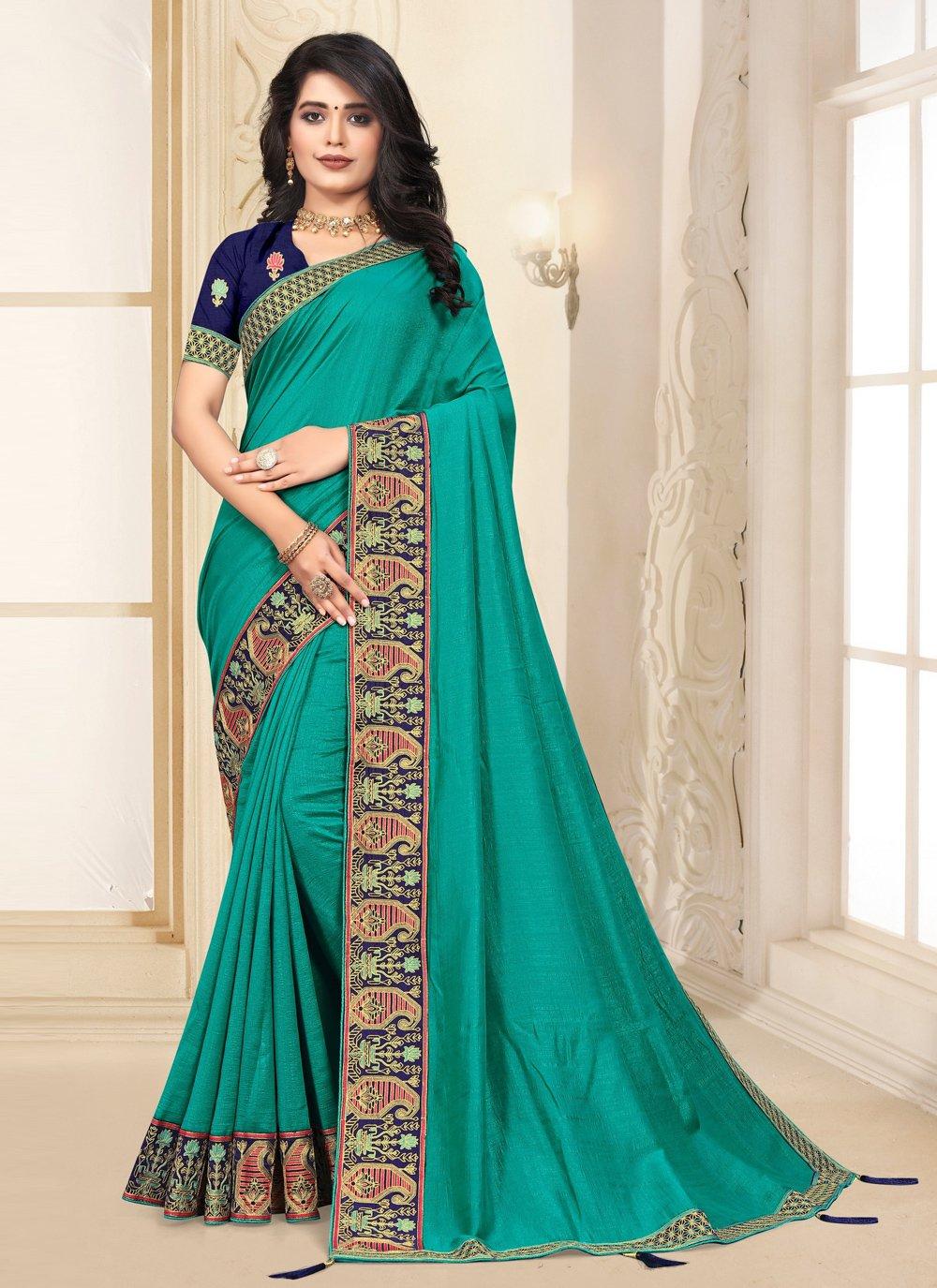 Turquoise Silk Contemporary Saree