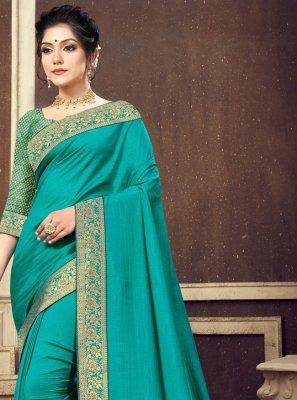 Turquoise Silk Festival Traditional Designer Saree