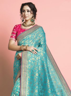 Turquoise Weaving Designer Traditional Saree