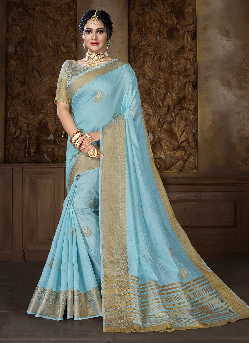 Turquoise Weaving Traditional Saree