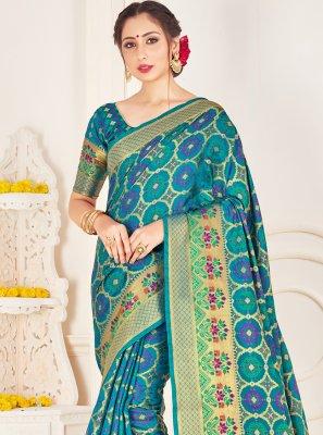 Turquoise Woven Art Banarasi Silk Traditional Saree