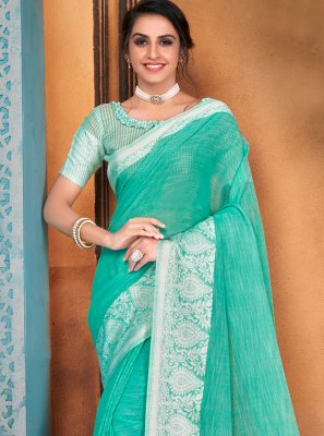 Turquoise Woven Cotton Traditional Saree