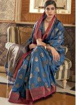 Tussar Silk Blue Traditional Saree