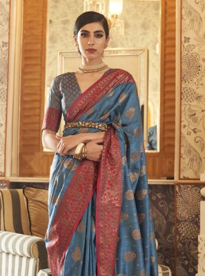 Tussar Silk Blue Traditional Saree