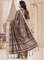 Tussar Silk Brown Digital Print Printed Saree