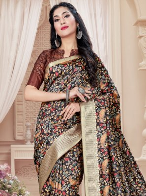 Tussar Silk Brown Digital Print Printed Saree