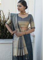 Tussar Silk Designer Traditional Saree in Grey