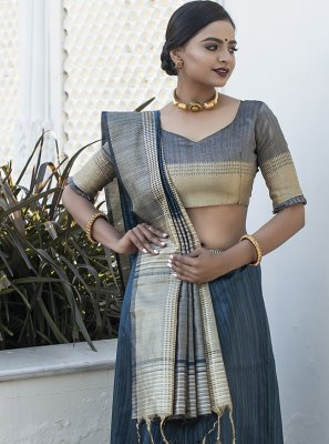 Tussar Silk Designer Traditional Saree in Grey