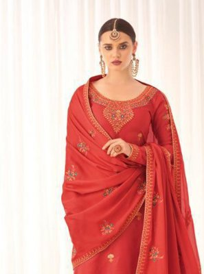 Tussar Silk Embroidered Designer Pakistani Suit in Red