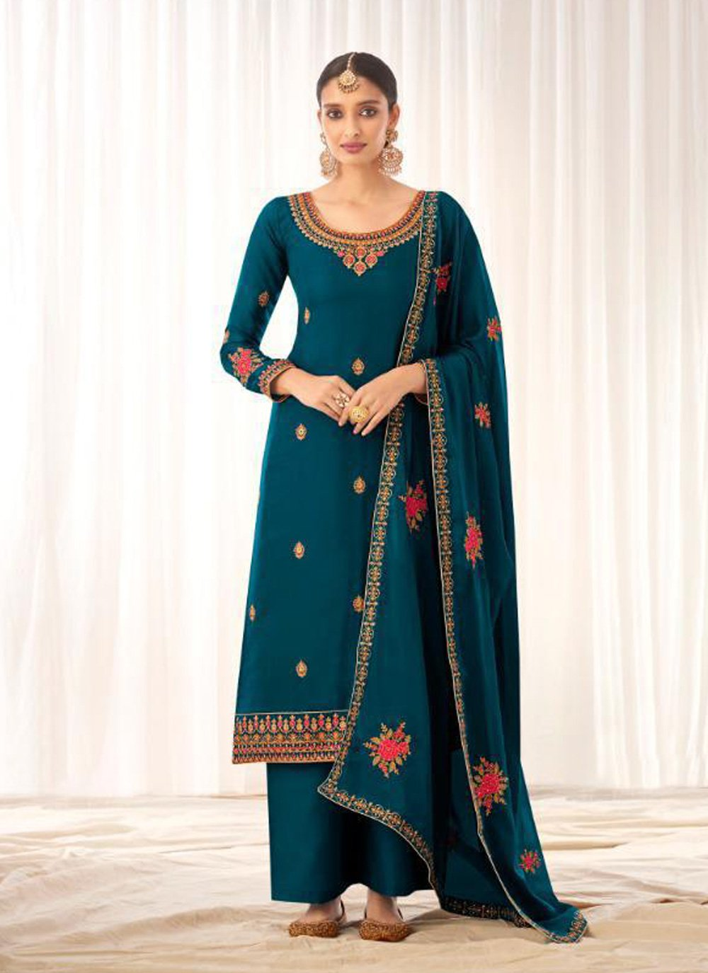 Tussar Silk Embroidered Designer Pakistani Suit in Teal