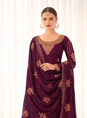 Tussar Silk Embroidered Purple Designer Pakistani Salwar Suit