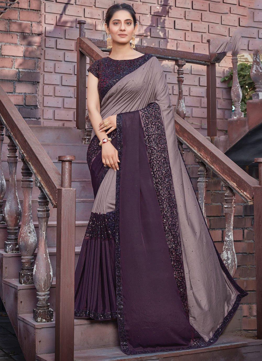 Tussar Silk Embroidered Purple Designer Saree