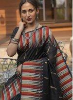 Tussar Silk Fancy Black Designer Traditional Saree