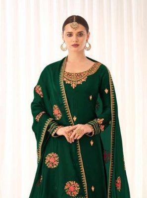Tussar Silk Green Embroidered Designer Pakistani Suit