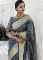 Tussar Silk Grey Weaving Designer Traditional Saree