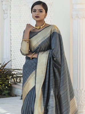Tussar Silk Grey Weaving Designer Traditional Saree