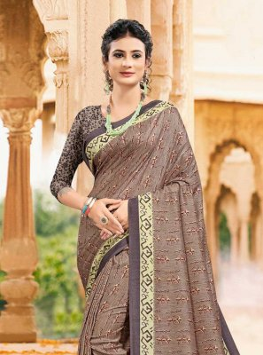 Tussar Silk Printed Saree in Multi Colour