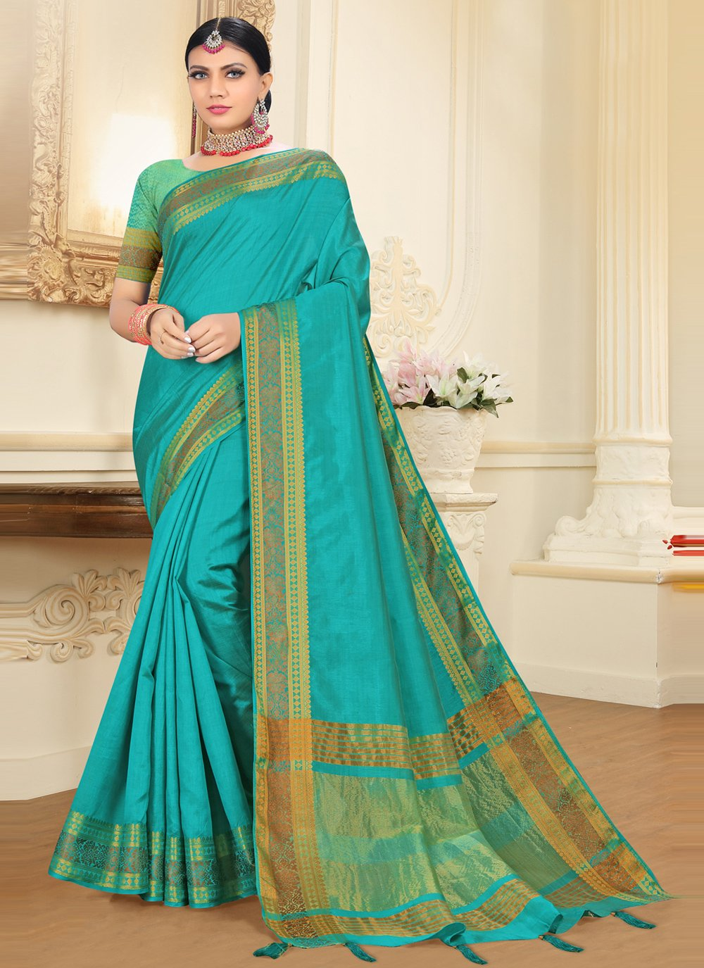Tussar Silk Rama Designer Traditional Saree