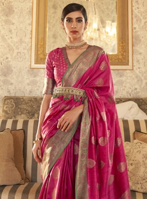 Tussar Silk Weaving Magenta Traditional Designer Saree