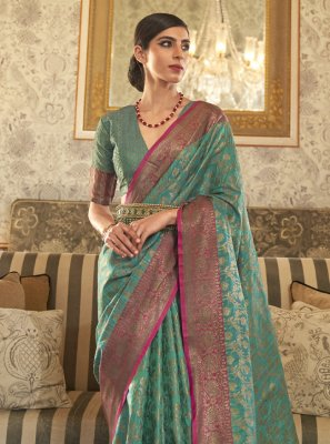Tussar Silk Weaving Sea Green Designer Traditional Saree