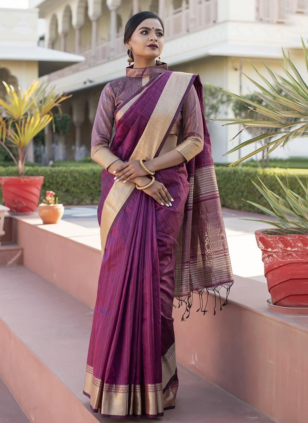 Tussar Silk Weaving Wine Designer Traditional Saree