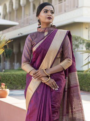 Tussar Silk Weaving Wine Designer Traditional Saree