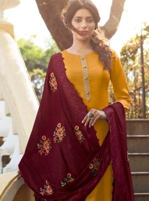 Tussar Silk Yellow Designer Palazzo Suit