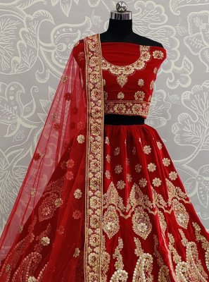 Velvet A Line Lehenga Choli in Red