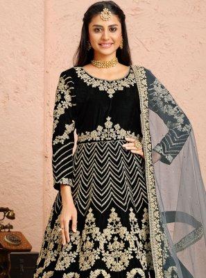 Velvet Black Anarkali Salwar Suit