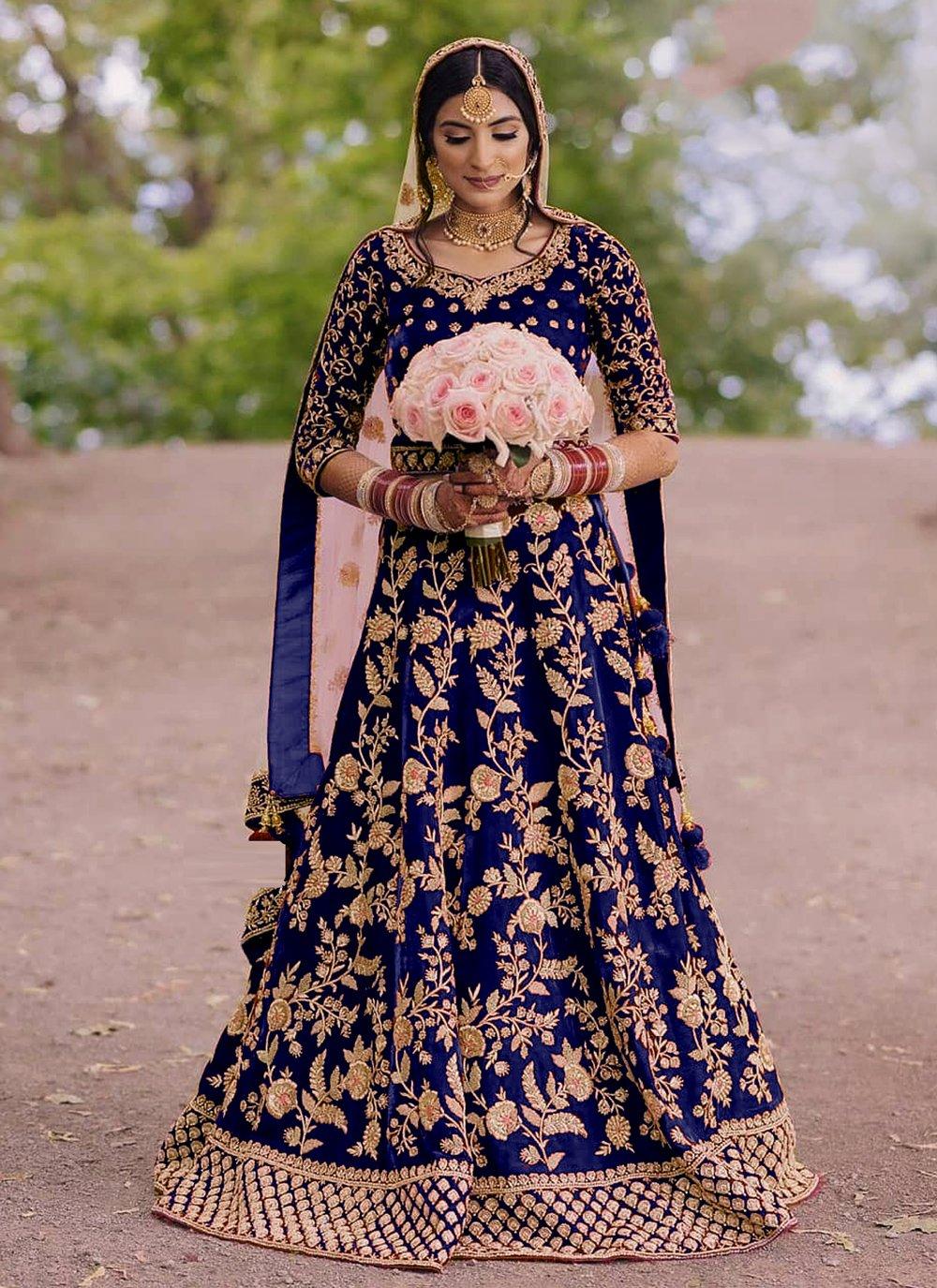 Velvet Blue Embroidered Floor Length Anarkali Suit