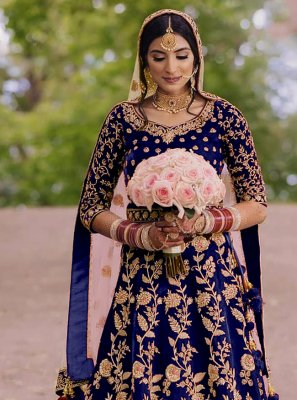 Velvet Blue Embroidered Floor Length Anarkali Suit